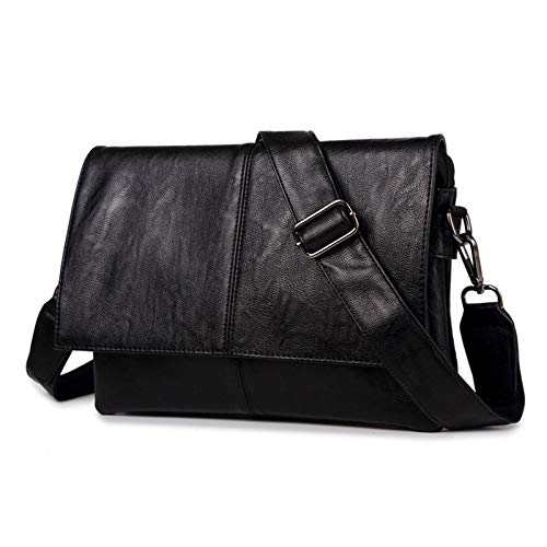 DLQX Portable Laptop Bag,Leather Large Capacity Briefcase,PU Leather Handbag,Available For Travel/Business/School (black)(Color:A)