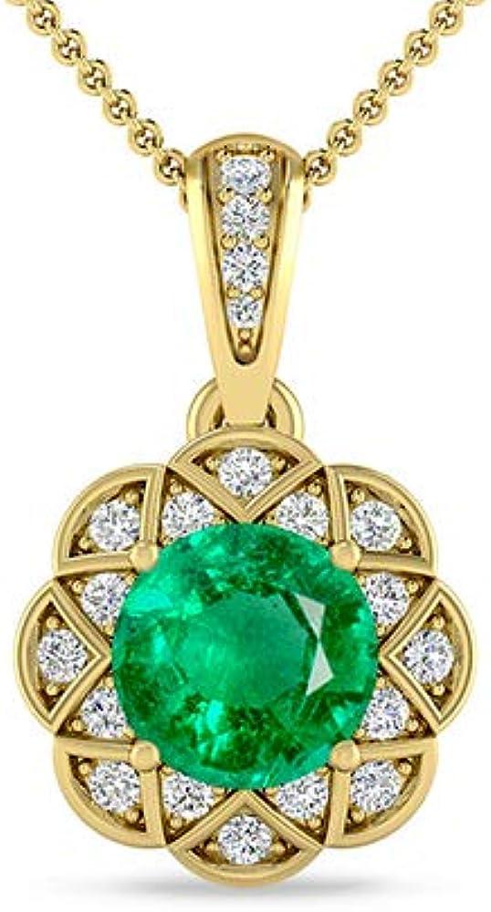 Inspereza Gemstone and White Diamond Phoenix Spasm price Mall Pendant Halo Necklac Floral