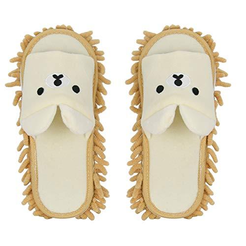 Liitrton 1 Pair Detachable Mop Slippers Shoes Microfiber Chenille Soft Comfortable Dust Dirt Hair Cleaner (Beige)