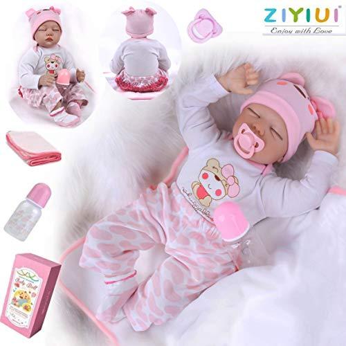 ZIYIUI 22 Pulgadas Lifelike Reborn Bebé Muñecas Vinilo de Silicona Realista Hecho a Mano Bebés para Niñas Juguetes Reborn Baby Dolls 55cm, Conveniente para la Edad 3 Más