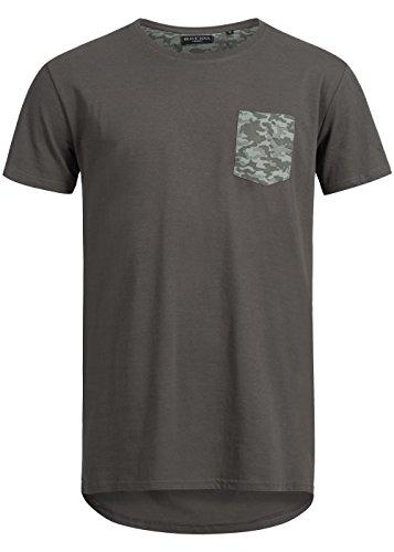 Brave Soul Herren T-Shirt mit Brusttasche, Longer Fit, dunkel grau/camo, M