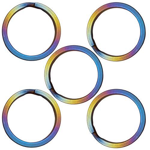 CLAN チタン製キーリングセット 軽量で錆びないキーリング (直径32mm 内径26mm 5点セット, 虹色)