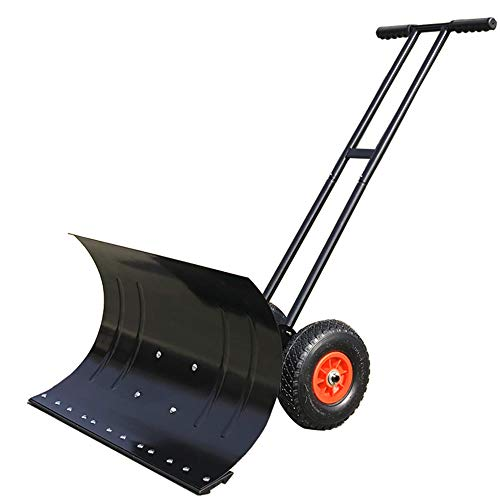 ZJDU Rolling Snow Pusher Heavy Duty Wheeled Snow Plow Shovel Pusher Rolling Adjustable Snow Pusher with 25Cm Wheels Efficient Snow Plow Suitable for Driveway Or Pavement Clearing