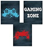 KAIRNE Juego de 3 pósteres para videojuegos, imágenes para juegos de pared, arte de pared para niños, adolescentes, dormitorio, sala de juegos, imagen de zona de juegos (8 x 10 pulgadas), sin marco