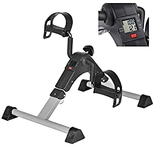 Under Desk Bike Pedal Exerciser with LCD Monitor Resistance and Resistance for Seniors, Stationary Foldable Mini Exercise Bike Pedals Peddler Exerciser for Arms and Legs for Office or Home (Silver)