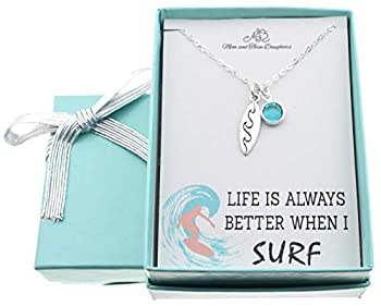 Surfboard Necklace in Sterling Silver on an 18 Inch Sterling Silver Cable Chain Surfing Gifts Surf Board Necklace