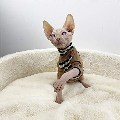 NELIT Sphynx Katzenkleidung Winterwärmer High-Neck Sweater Haarlose Katzenkleidung-Khaki_XXL