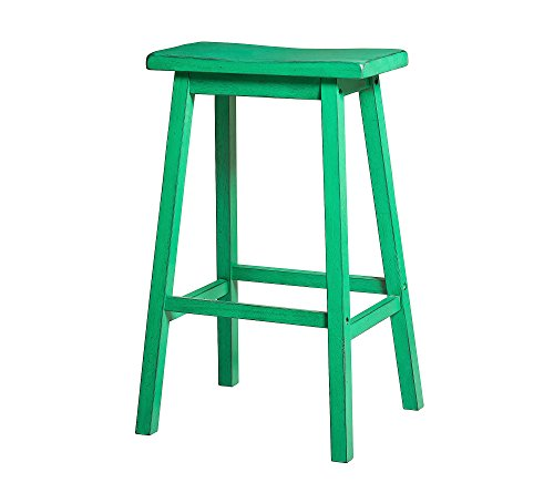 "ACME Gaucho Bar Stool (Set-2) - 96652 - Antique Green - 29"" Seat Height"