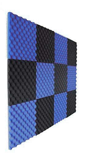 "Convoluted Blue Charcoal 1 Inch x 12"" W x12"" L Acoustic Foam Panels Recording Studio Foam"