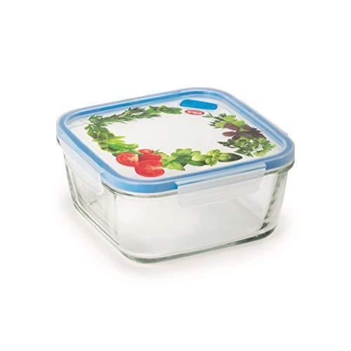 Snips Contenitore Lock Glass-Contentitore Quadrato in Vetro per Alimenti da 1,40 LT, Trasparente con Decoro