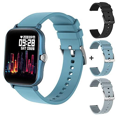 YLB P8 Plus 1.69 Pollici 2021 Smart Watch Uomini Full Touch Fitness Tracker Ip67 Impermeabile Femmina GTS 2 SmartWatch per Xiaomi Cellulare, (Colore: Nero con un Cinturino) (Colore: Blu con 3 cinghie)