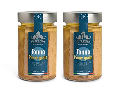 Filetti di Tonno pinne gialle in olio d oliva IV Regia di Sardegna - 2 confezioni da 190g - Lavorato a mano in Sardegna, Italia - Produzione artigianale sarda certificata Kosher