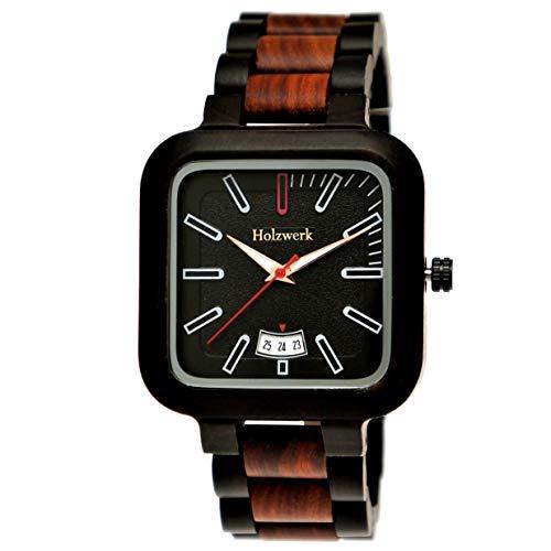 Handgefertigte Holzwerk Germany® Designer Herren-Uhr Öko Natur Holz-Uhr Armband-Uhr Analog Eckig Klassisch Quarz-Uhr Schwarz Braun Datum
