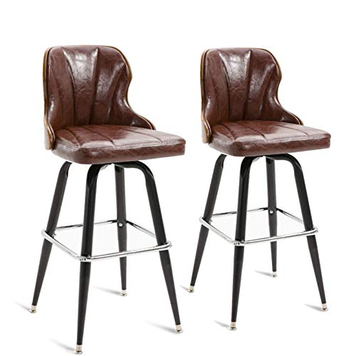 N/Z Daily Equipment Chaise Height Bar Stools with Solid Wood Back Pu Leather Bar Counter Stools Modern Pub Kitchen High Dining Chairs with Metal Base Dining Room Furniture 350 Lbs Capacity E