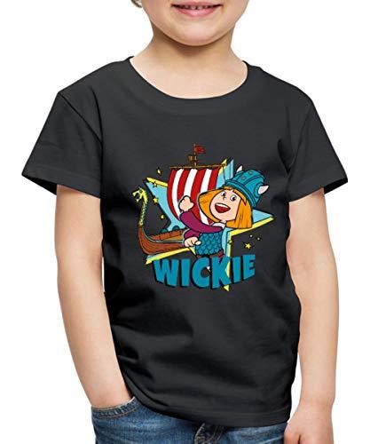 Wickie Und Die Starken Männer Wikingerschiff Kinder Premium T-Shirt, 134-140, Schwarz