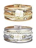 YADOCA 2 Pcs Leather Wrap Bracelets for Women Men Multi Rope Boho Cuff Bracelets Handmade Magnetic Clasp Bangle Wristbands Jewelry