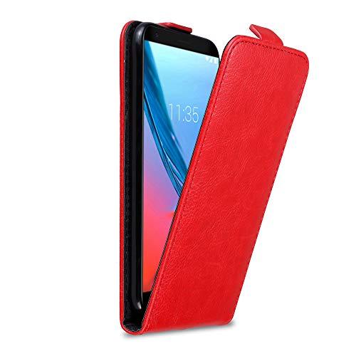Cadorabo Hülle für ZTE Blade V9 in Apfel ROT - Handyhülle im Flip Design mit Magnetverschluss - Hülle Cover Schutzhülle Etui Tasche Book Klapp Style