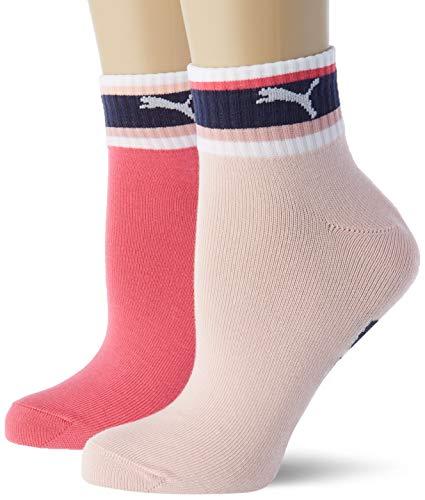 PUMA Unisex-Child Stripe Girl's Quarter (2 Pack) Casual Sock, Mixed Colors, 39/42 (2er Pack)