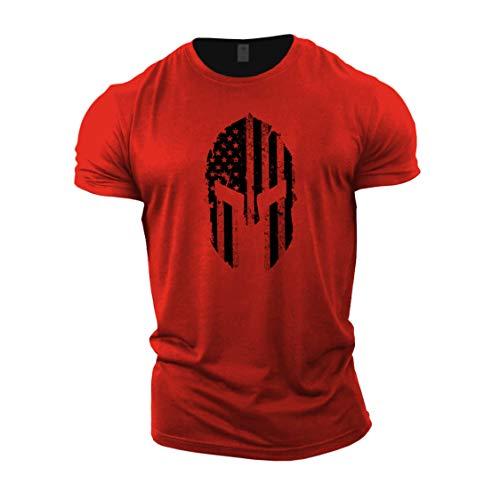 GYMTIER Herren Bodybuilding-T-Shirt – Spartanische USA-Flagge – Gym Training Top Gr. M, rot