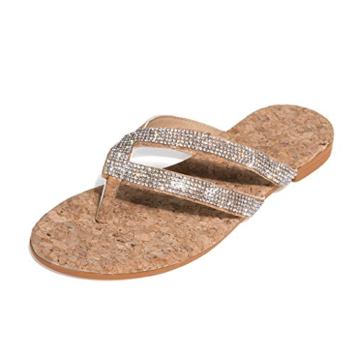 Affordable kaifongfu Sequin Flip Flop for Womens Flat Sandals Crystal Beach Slides Casual Slippers S...