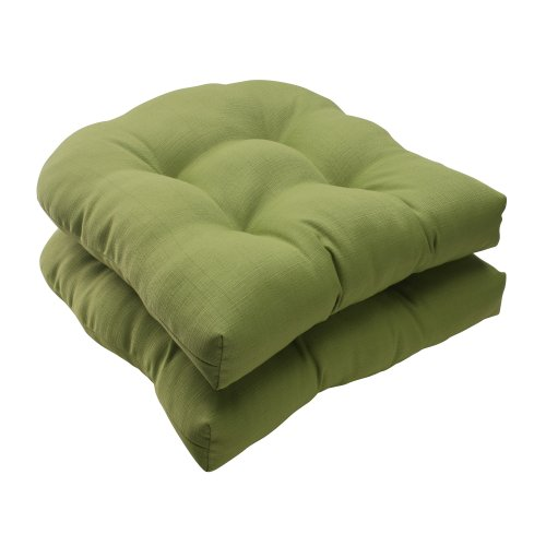 Pillow Perfect Indoor/Outdoor Forsyth Wicker Seat Cushion, Green, Set of 2