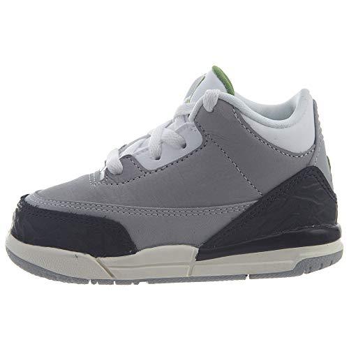 Nike Jordan 3 Retro (TD), Zapatillas de Estar por casa Bebé Unisex, Multicolor (Lt Smoke Grey/Chlorophyll/Black/White 006), 22 EU
