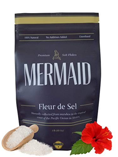 1 pound Mermaid Fleur de Sel – Salt Flower – Manually Collected In the Tropical Coast – Extra Flavorful – Unrefined Fleur de Sel – 100% Natural Sea Salt – 1lb Fleur de Sel The California Food Shop
