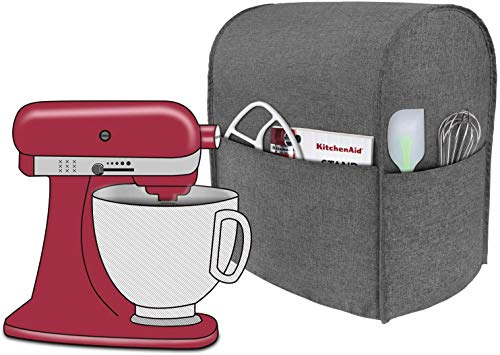 Taufey Dust Cover with Pockets Compatible with 4.5 Quart and All 5 Quart KitchenAid Stand Mixer, Gray
