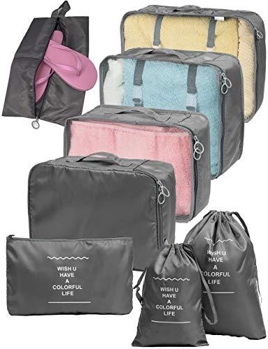 Organizador de Viaje, organizadores de Equipaje de Viaje, Cubos de Embalaje para 8 Pices, Bolsas en Bolsa Cubos de Embalaje con Bolsa de Zapatos para Ropa Seca, Zapatos, cosméticos (Gris)