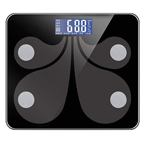ZhenHe Balanza balanza digital Bluetooth, Cuarto de baño inteligente Báscula Báscula, 180Kg / 400 libras Negro