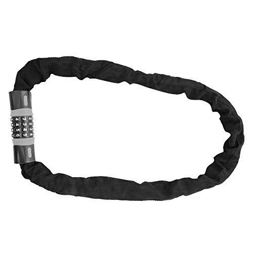 Fietskettingslot, 4-cijferig combinatiecodeslot Antidiefstal stalen kettingslot voor fiets/glazen deur, Beveiliging Antidiefstal fietsslot((Grijs + zwart))