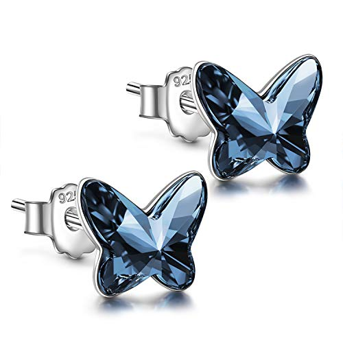 ANGEL NINA 925 Sterling Silver Stud Earrings Butterfly Crystals from Swarovski Hypoallergenic Earrings Anniversary Birthday Gifts for Teen Girl Daughter Sister (Denim Blue #2)