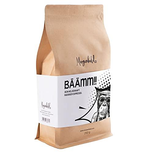 Morgenheld BÄÄMM Deine heldenhafte temperamentvolle Espresso Mischung, ganze Bohnen 250g kräftig und schokoladig, Arabica Robusta italienische Barista Qualität