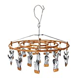 Stainless Steel Clothe Drying Rack Laundry Drip Hanger 24 Clip Metal Clothespins Underwear Lingerie Sock Hat Boot Large Heavy Duty Portable Indoor Outdoor Baby Wet and Dry Dryer (24 Round Brown)