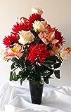 roselynexpress Composition de Fleurs artificielles en cône lesté Ciment pour Une Parfaite Tenue de Votre Bouquet de Fleurs, Plus Besoin de Sable, ce Vase en PVC Se dépose dans Un Vase funéraire.
