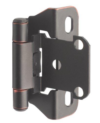 Amerock BPR7566ORB 1/4 in (6 mm) Overlay Self-Closing, Partial Wrap Oil-Rubbed Bronze Hinge - (Pack of 2) (0.25 Hinge)