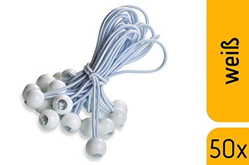 fuxton 50 Profi Spanngummis mit Kugel (weiß 195 mm) für Zelte, Planen, Pavillons. Planenspanner, Expanderschlingen, Planenhalter, Planengummi, Gummispanner, Zeltgummi