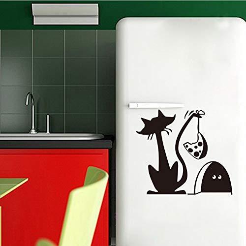 Lustige katze und mausefalle vinyl wandtattoo tapete für kinder kühlschrank wandbild wandaufkleber künstler wohnsitz dekoration 50 * 53 cm