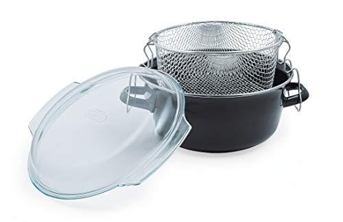 Cordon Green Housewares - Sartén de 5 litros con tapa Pyrex y cesta - Esmalte negro
