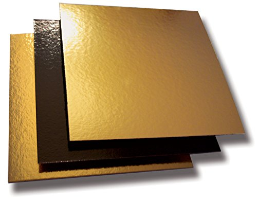Cuisineonly–Carre Cartone Oro/Nero–50Unites 24x 24cm. Cucina: Uso Unico (cartonnages)