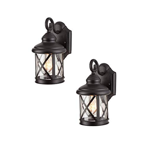 NOMA 2-Pack Outdoor Wall Lantern | Waterproof Outdoor Down-Facing Exterior Lights for Front Door, Backyard, Garage, Patio or Décor | Black Finish with Clear Glass Panels, 2-Pack