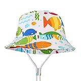 GWELL Kinder Dinosaurier Sonnenhut Sommer Outdoor Strandhut UV Schutz Mütze Sommerhut Fischerhut Wanderhut Fisch-2 54