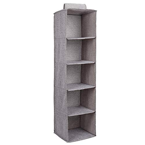 MaoXinTek Hanging Closet Organizer, Foldable 5 Shelf Wardrobe Storage Shelves Easy Mount for Clothes Handbag Shoes Accessories Pockets, Washable Jute Cloth Fabric, Gray