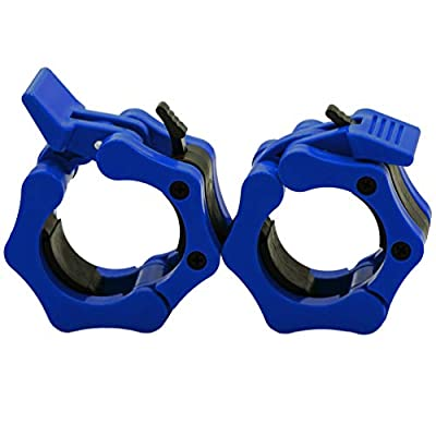 "Greententljs Olympic Barbell Weight Clamps 2 Inch Clips Quick Release Locking 2"" Pro Olympic Bars Deadlifts Weights Plates for Squats Weightlifting Fitness Body-Solid (Blue, Pair Set)"