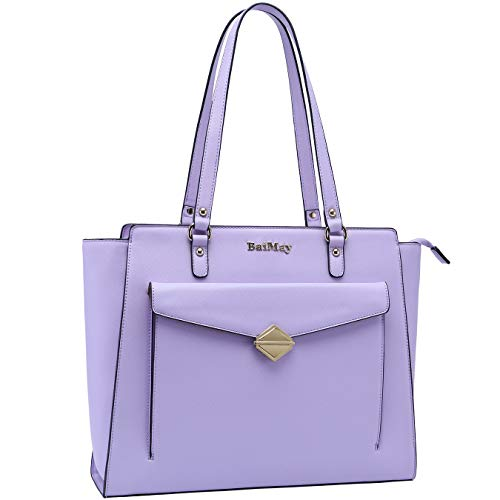 Laptop-Bag-for-Women,15-15.6 Inch Laptop-Tote-Bag Multi-pockets Briefcase-for-Women Business Work-Bags Large Teacher-Bag Carryall for Office College Travel,lightpurple