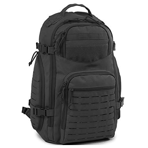 Highland Tactical Roger Tactical Backpack with Laser Cut MOLLE Webbing (Black)