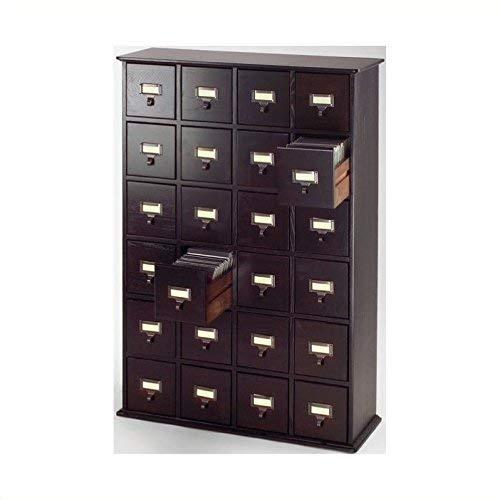 Leslie Dame Solid Oak Library ard File Media Cabinet, 24 Drawers, Espresso