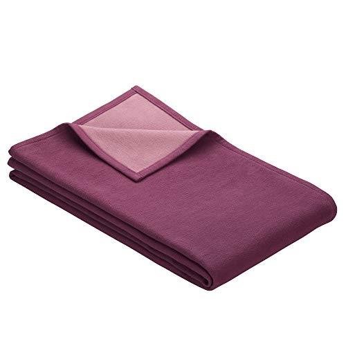 Ibena Stockholm Baumwolldecke 140x200 cm – Kuscheldecke violett Altrosa, 100% Reine Baumwolle, hochwertige Qualität Made in Germany