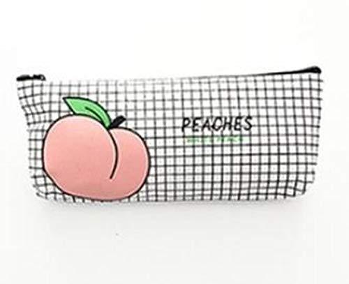 Girl's Stationery Bag Canvas Pencil Bag School Supplies Cute Peach Pencil case Canvas Stationery Bag (D)