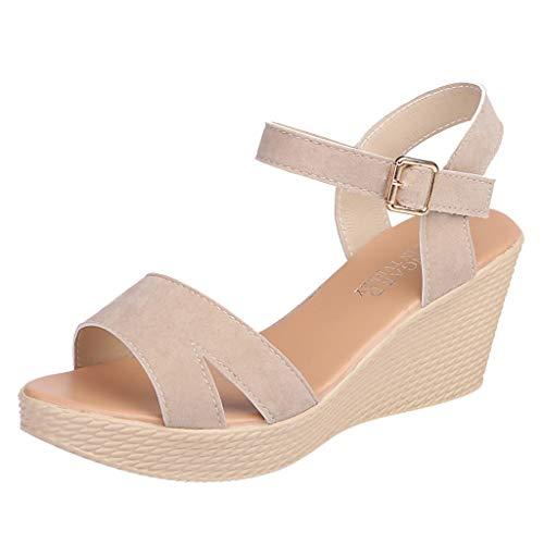 ZARLLE Zapatos Sandalias con cuña tacón Plataforma Alta Tallas Grandes Moda Verano de Mujeres Sandalia con Hebilla y Boca de pez señoras Zapatos de Playa niña Calzado 35-39